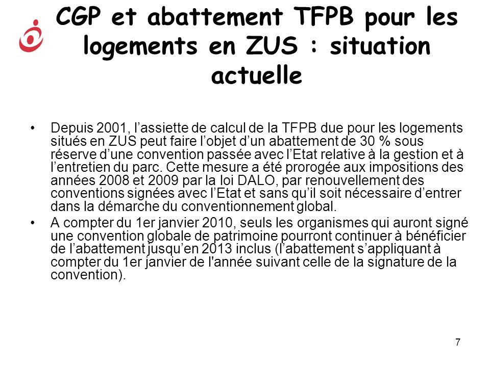 8 Impact du projet de loi Mobilisation pour le logement sur labattement TFPB Pour bénéficier de labattement de 30 % sur lassiette de la TFPB établie au titre de 2010, les organismes devront : - soit renouveler (ou conclure) la convention relative à l entretien et à la gestion du parc avant fin 2009, - soit conclure, avant fin 2009, une convention dutilité sociale (CUS), labattement sappliquant à compter du 1er janvier de l année suivant celle de la signature de la convention.