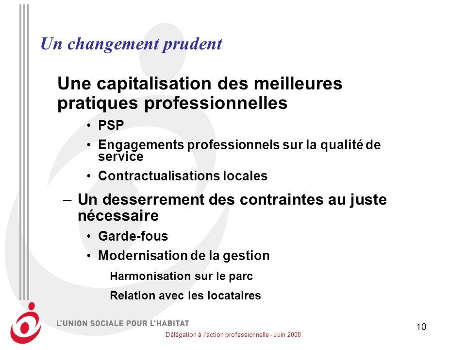 Délégation à l'action professionnelle - Juin 2008 10 Un changement prudent Une capitalisation des meilleures pratiques professionnelles PSP Engagement