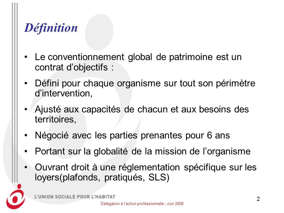 Délégation à l'action professionnelle - Juin 2008 2 Définition Le conventionnement global de patrimoine est un contrat dobjectifs : Défini pour chaque