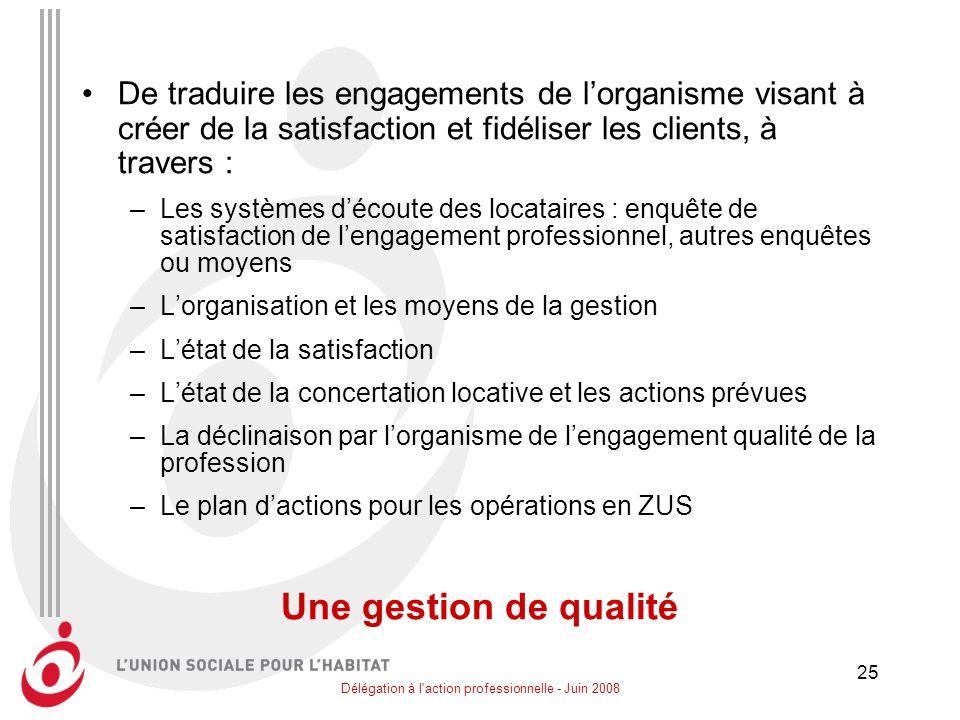 Délégation à l'action professionnelle - Juin 2008 25 De traduire les engagements de lorganisme visant à créer de la satisfaction et fidéliser les clie