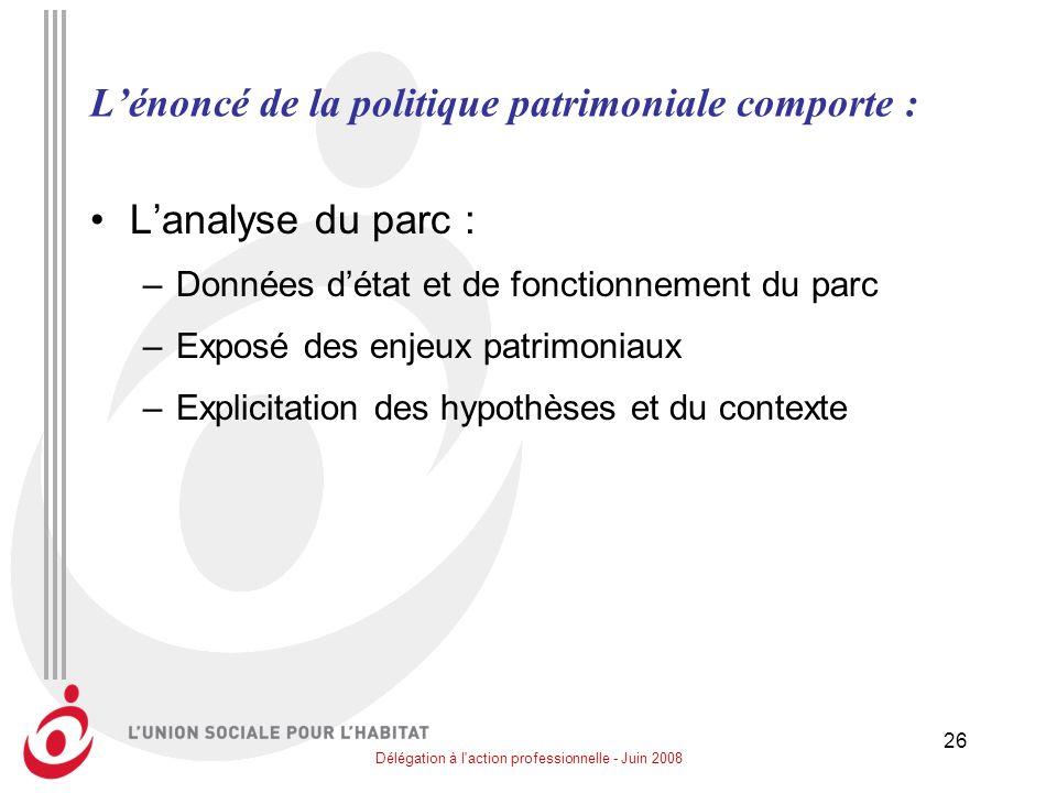 Délégation à l'action professionnelle - Juin 2008 26 Lénoncé de la politique patrimoniale comporte : Lanalyse du parc : –Données détat et de fonctionn