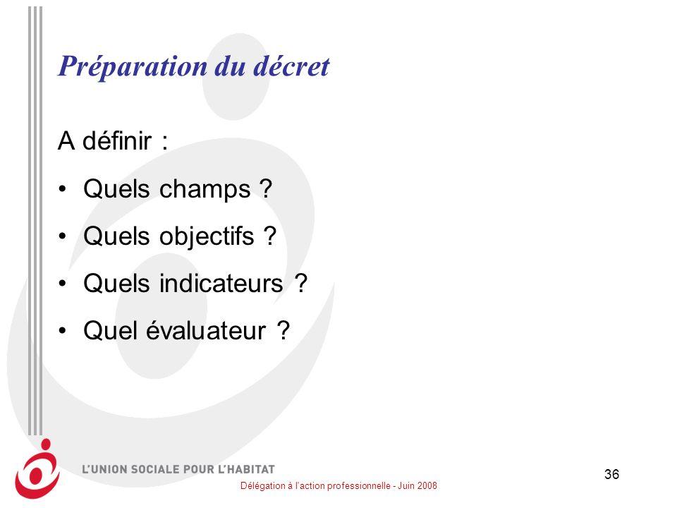 Délégation à l'action professionnelle - Juin 2008 36 Préparation du décret A définir : Quels champs ? Quels objectifs ? Quels indicateurs ? Quel évalu