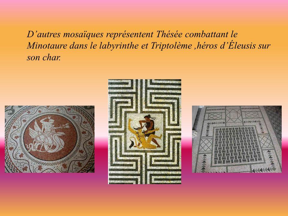 A lentrée de la villa, lembléma est une mosaïque authentique, un travail dAlexandrin datant du 11ème siècle avant J-C ; celle-ci représente des poussins, un coq et une poule.
