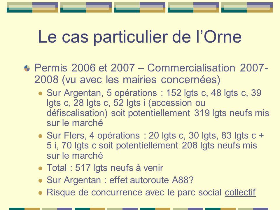 Le cas particulier de lOrne Permis 2006 et 2007 – Commercialisation 2007- 2008 (vu avec les mairies concernées) Sur Argentan, 5 opérations : 152 lgts