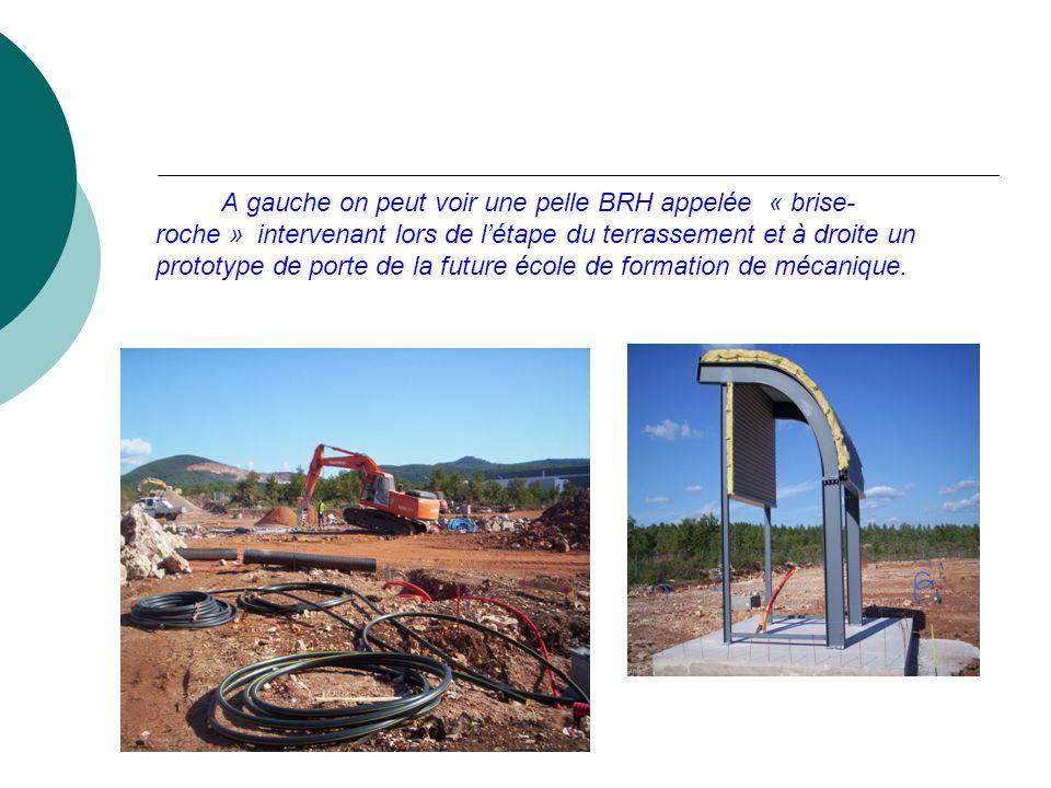 A gauche on peut voir une pelle BRH appelée « brise- roche » intervenant lors de létape du terrassement et à droite un prototype de porte de la future