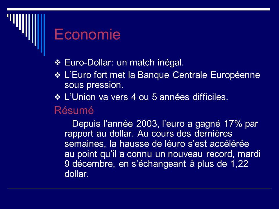 Economie Euro-Dollar: un match inégal. LEuro fort met la Banque Centrale Européenne sous pression.
