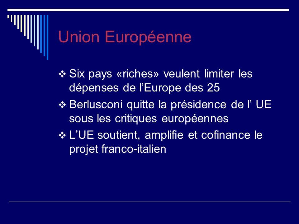 Union Européenne Six pays «riches» veulent limiter les dépenses de lEurope des 25 Berlusconi quitte la présidence de l UE sous les critiques européennes LUE soutient, amplifie et cofinance le projet franco-italien