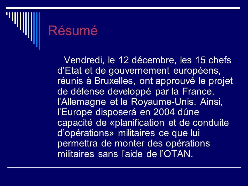 Résumé Vendredi, le 12 décembre, les 15 chefs dEtat et de gouvernement européens, réunis à Bruxelles, ont approuvé le projet de défense developpé par la France, lAllemagne et le Royaume-Unis.
