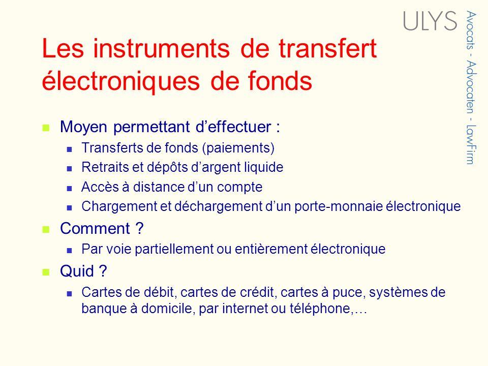 Les instruments de transfert électroniques de fonds Moyen permettant deffectuer : Transferts de fonds (paiements) Retraits et dépôts dargent liquide A