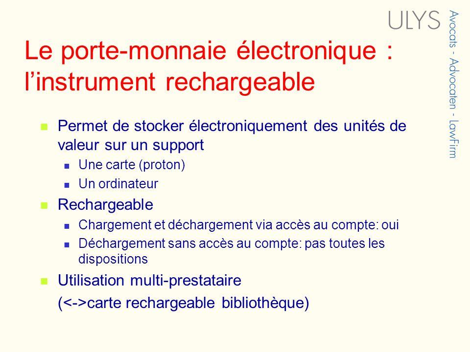 Le porte-monnaie électronique : linstrument rechargeable Permet de stocker électroniquement des unités de valeur sur un support Une carte (proton) Un