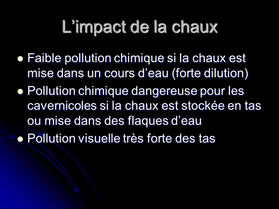 Limpact de la chaux Faible pollution chimique si la chaux est mise dans un cours deau (forte dilution) Pollution chimique dangereuse pour les cavernic