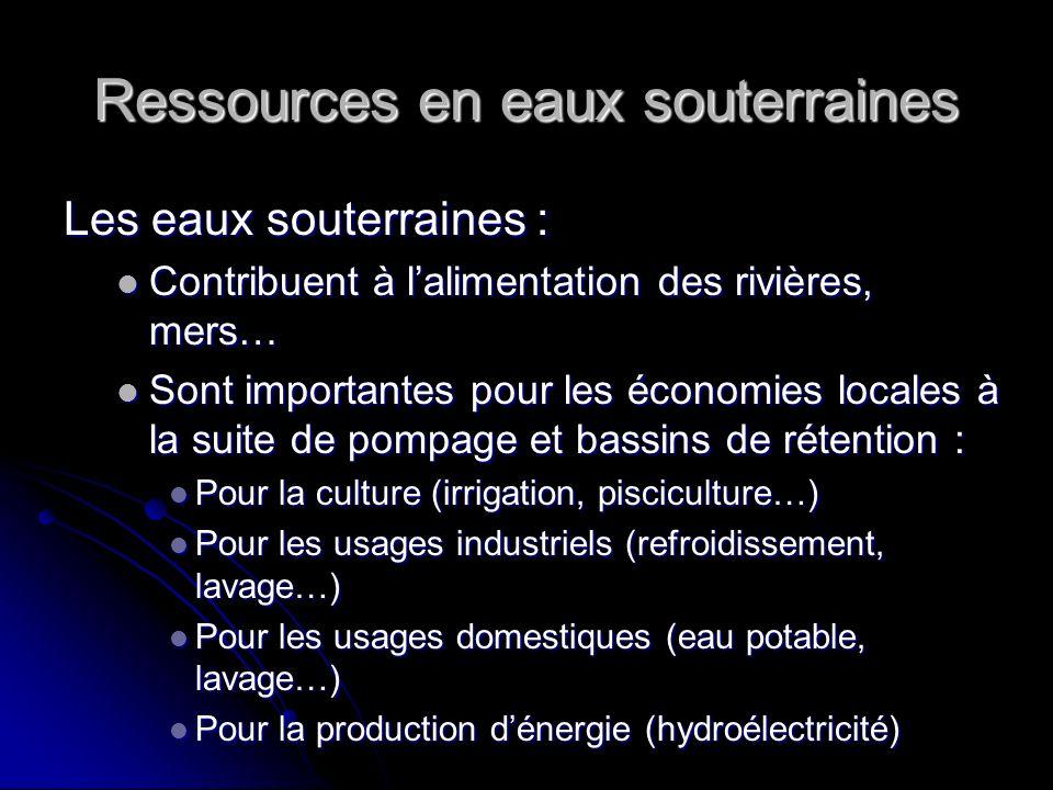 Ressources en eaux souterraines Les eaux souterraines : Contribuent à lalimentation des rivières, mers… Sont importantes pour les économies locales à
