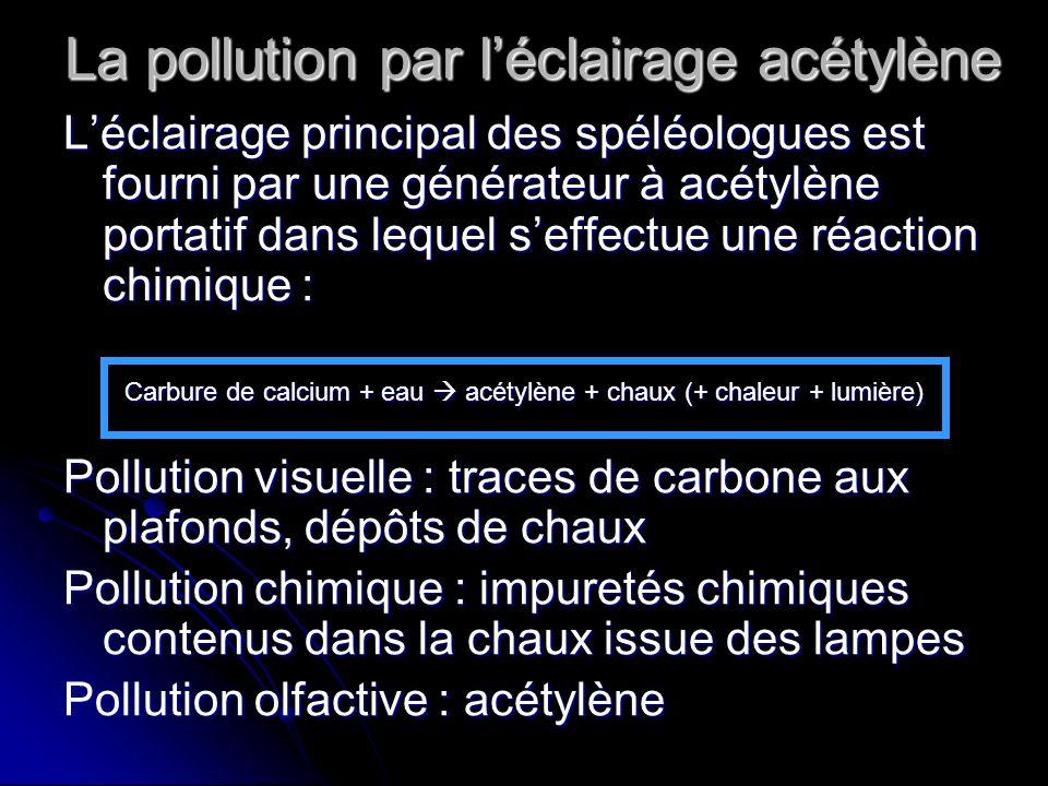 La pollution par léclairage acétylène Léclairage principal des spéléologues est fourni par une générateur à acétylène portatif dans lequel seffectue u