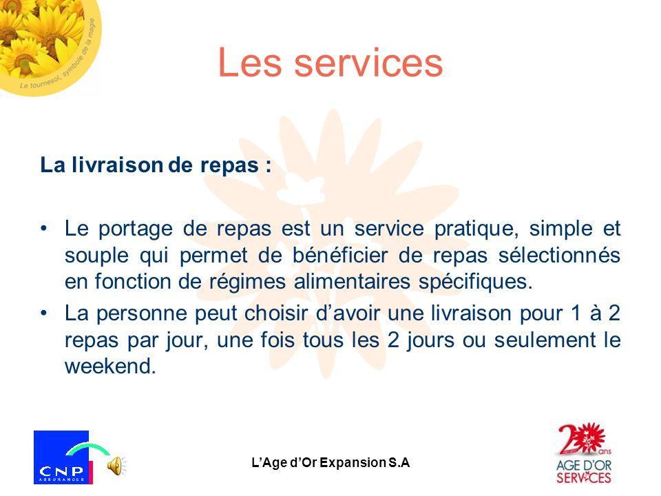 LAge dOr Expansion S.A Les services Laccompagnement hors du domicile : Avec les véhicules dAge dOr Services Ce service est mis en place pour accompagn