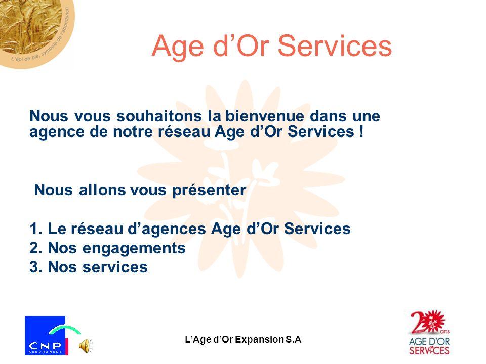 LAge dOr Expansion S.A Les services Notre réseau propose différents types de services décrits dans les diapositives suivantes.
