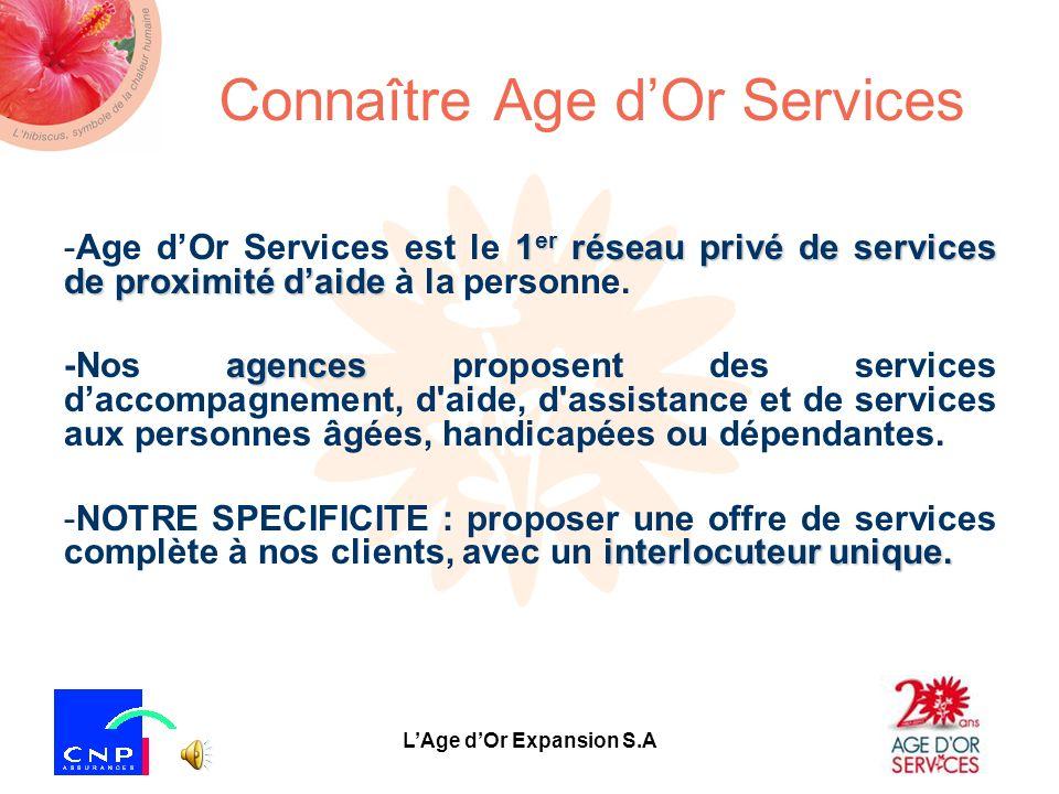 LAge dOr Expansion S.A Connaître Age dOr Services 1 er réseau privé de services de proximité daide -Age dOr Services est le 1 er réseau privé de services de proximité daide à la personne.