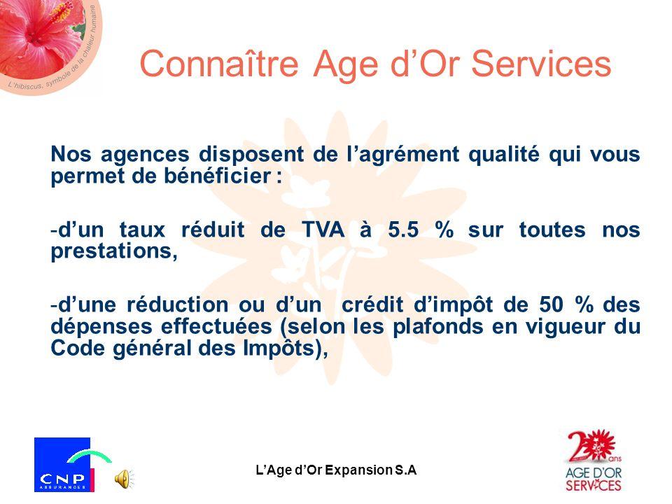 LAge dOr Expansion S.A Connaître Age dOr Services 1 er réseau privé de services de proximité daide -Age dOr Services est le 1 er réseau privé de servi