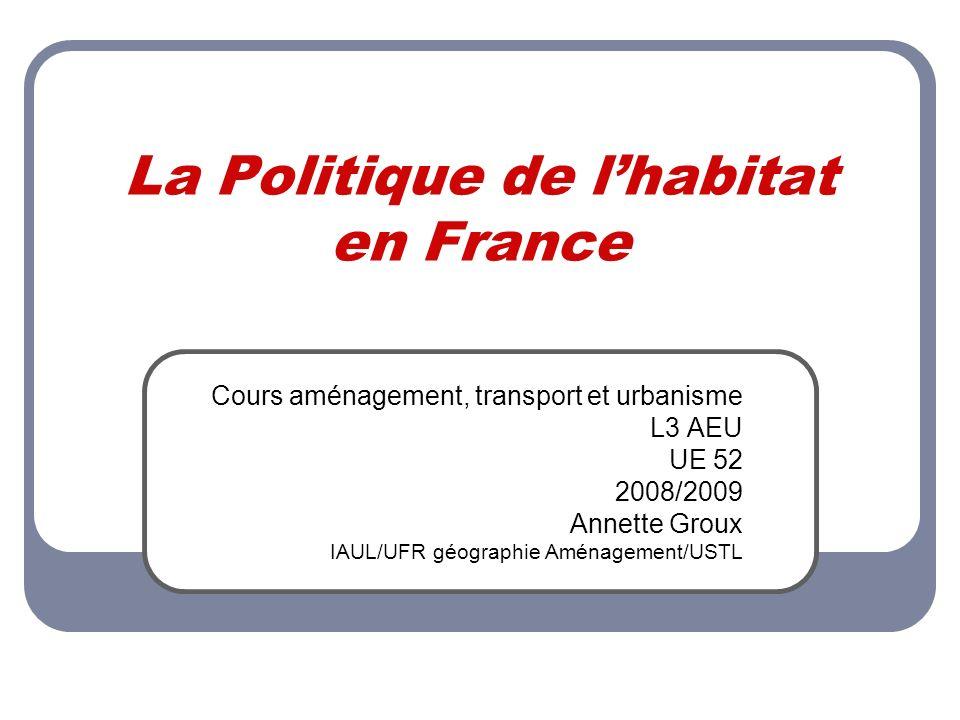 La Politique de lhabitat en France Cours aménagement, transport et urbanisme L3 AEU UE 52 2008/2009 Annette Groux IAUL/UFR géographie Aménagement/USTL