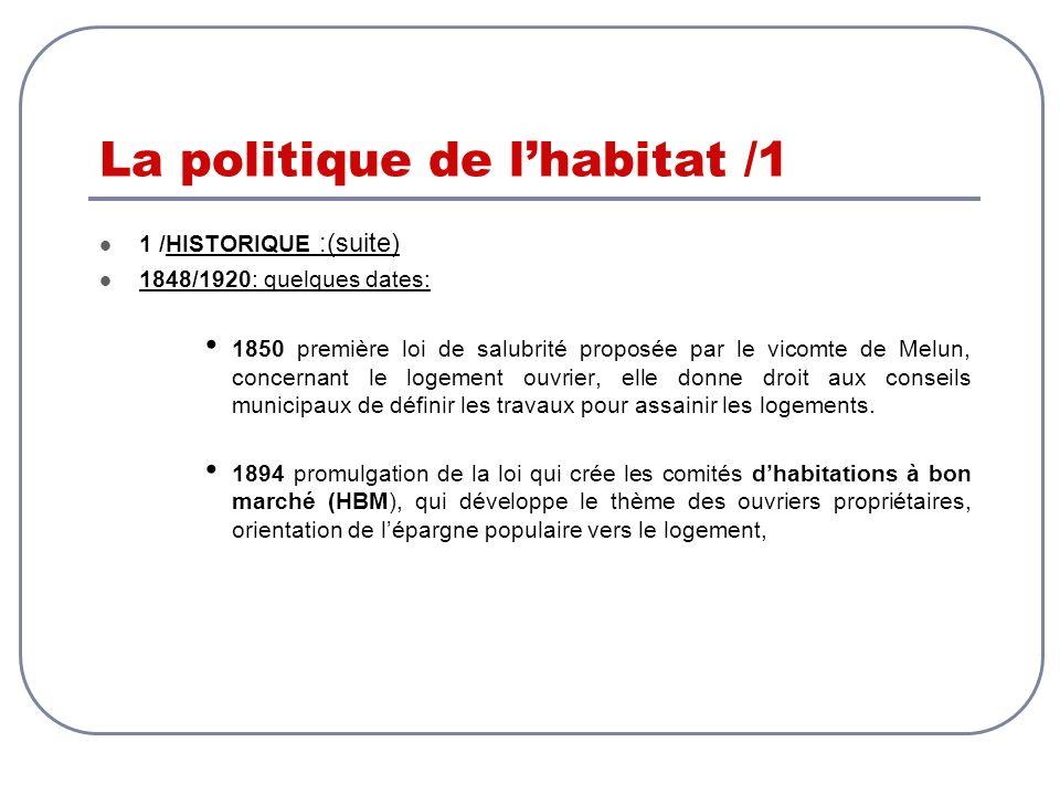 La politique de lhabitat /1 1 /HISTORIQUE :(suite) 1848/1920: quelques dates: 1850 première loi de salubrité proposée par le vicomte de Melun, concern