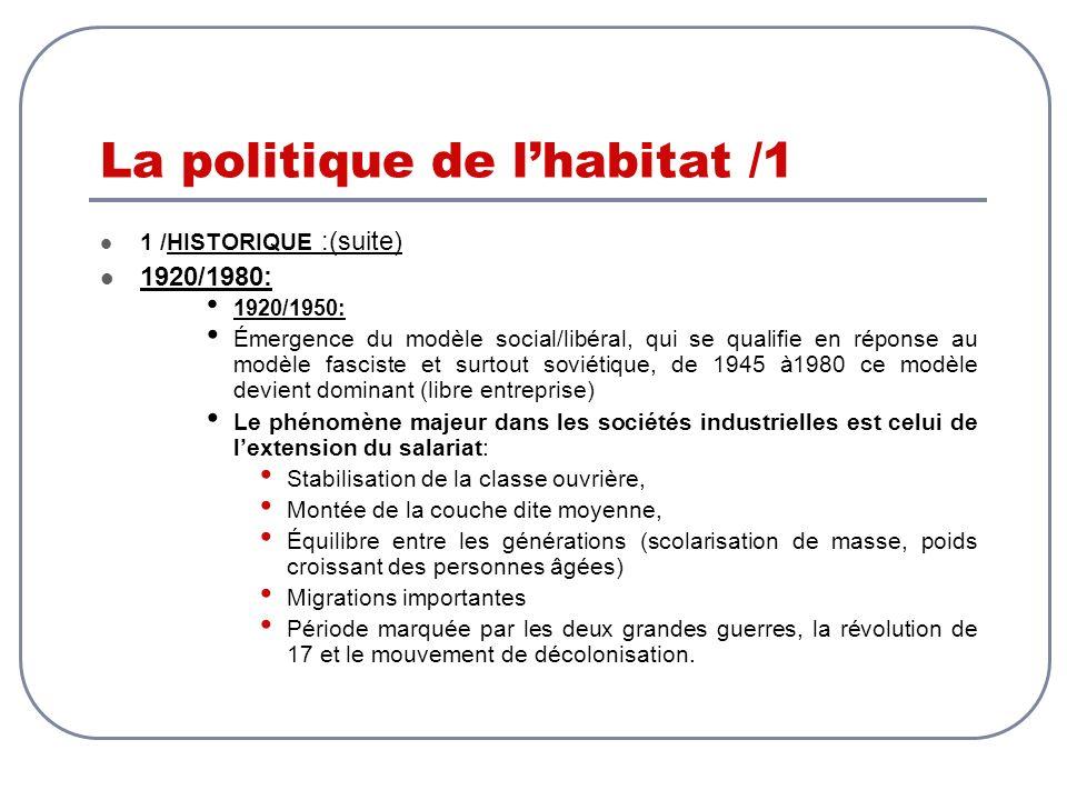 La politique de lhabitat /1 1 /HISTORIQUE :(suite) 1920/1980: 1920/1950: Émergence du modèle social/libéral, qui se qualifie en réponse au modèle fasc