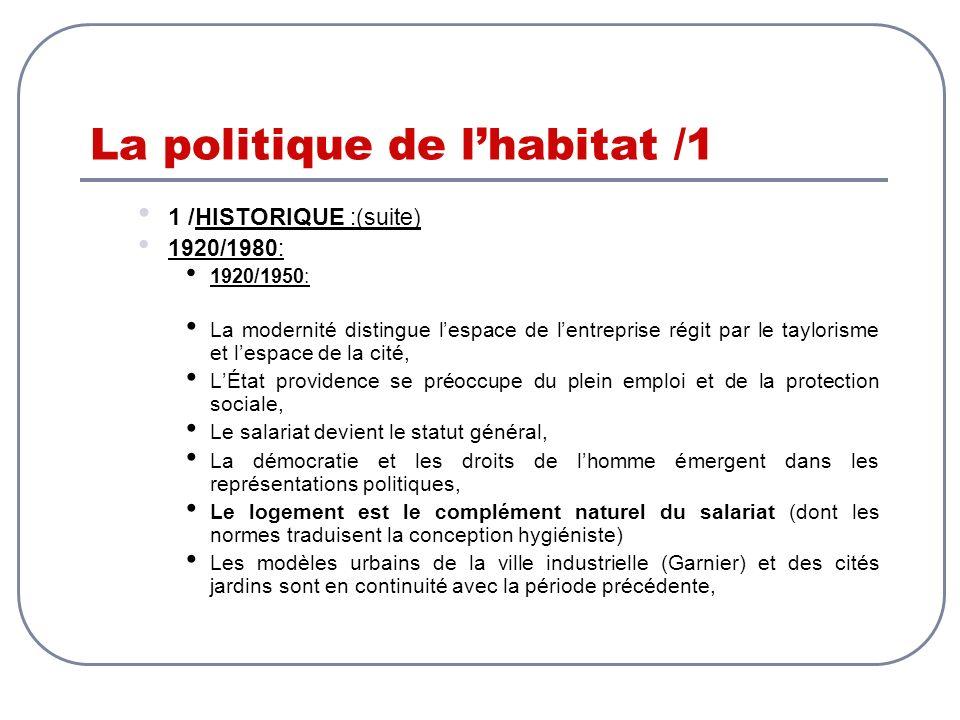 La politique de lhabitat /1 1 /HISTORIQUE :(suite) 1920/1980: 1920/1950: La modernité distingue lespace de lentreprise régit par le taylorisme et lesp