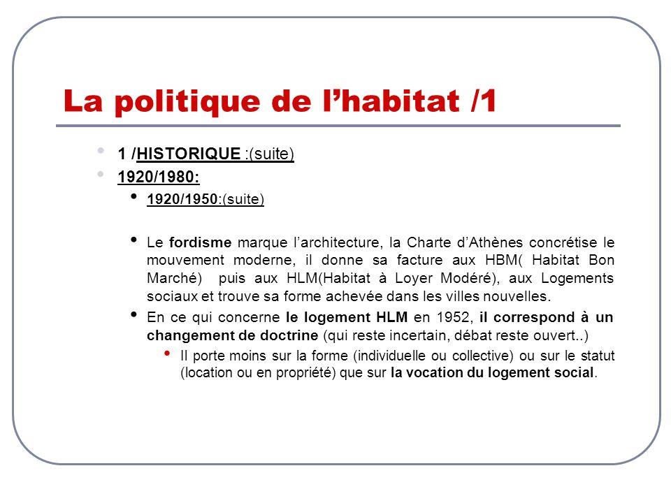 La politique de lhabitat /1 1 /HISTORIQUE :(suite) 1920/1980: 1920/1950:(suite) Le fordisme marque larchitecture, la Charte dAthènes concrétise le mou