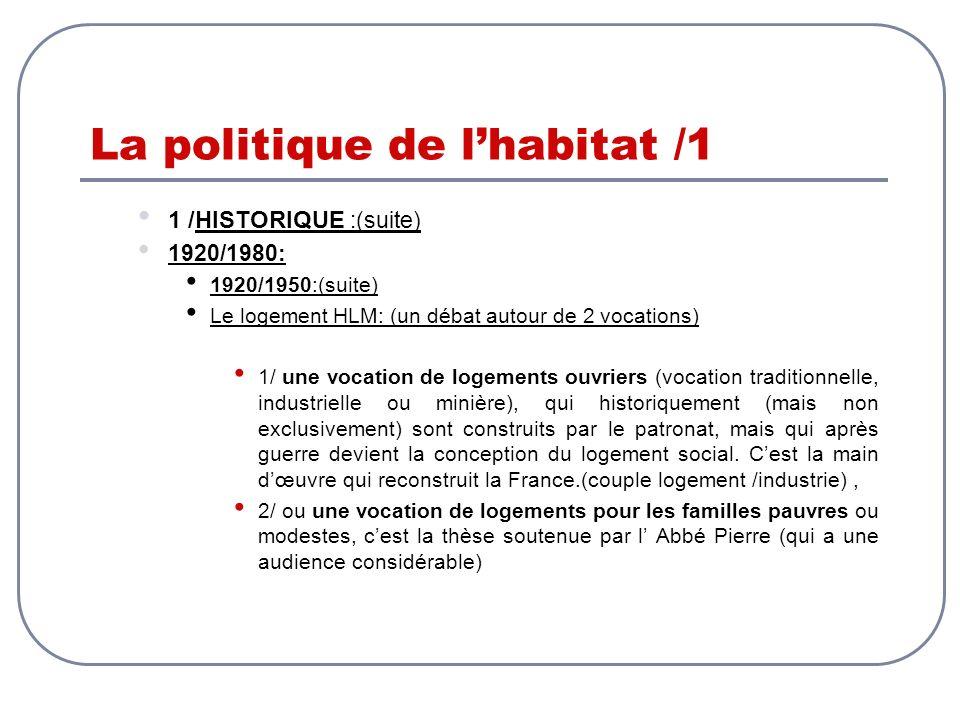 La politique de lhabitat /1 1 /HISTORIQUE :(suite) 1920/1980: 1920/1950:(suite) Le logement HLM: (un débat autour de 2 vocations) 1/ une vocation de l
