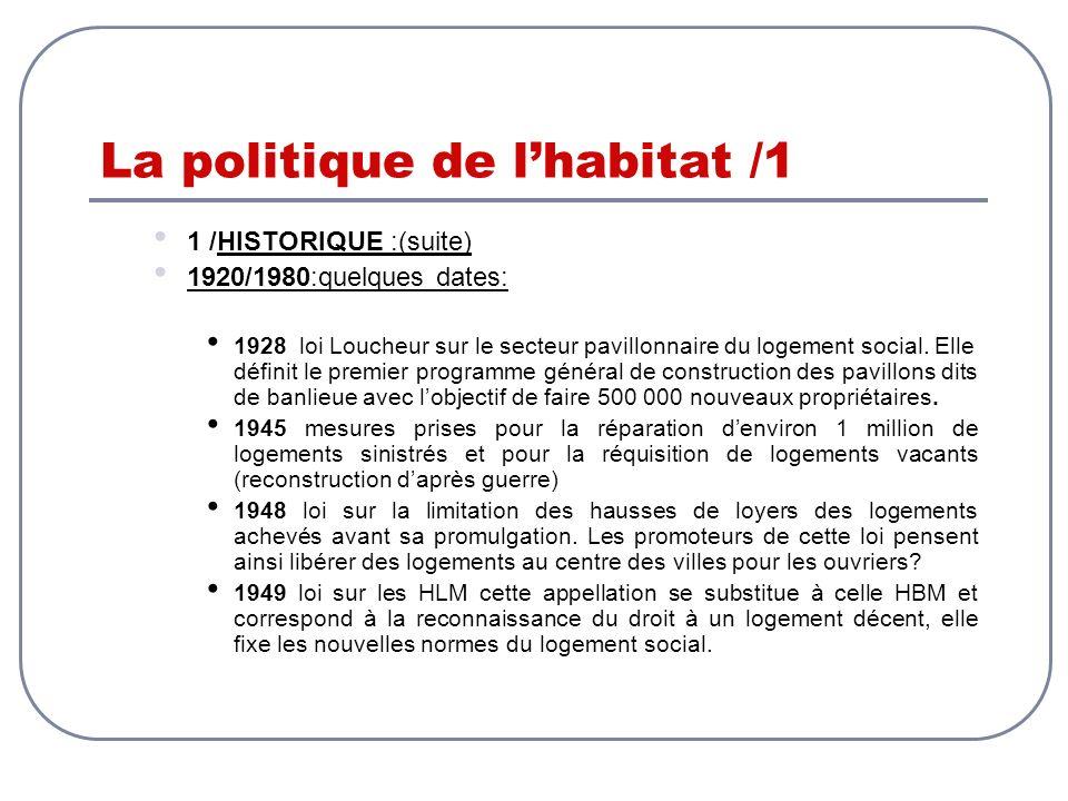 La politique de lhabitat /1 1 /HISTORIQUE :(suite) 1920/1980:quelques dates: 1928 loi Loucheur sur le secteur pavillonnaire du logement social. Elle d