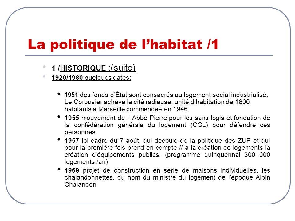 La politique de lhabitat /1 1 /HISTORIQUE :(suite) 1920/1980:quelques dates: 1951 des fonds dÉtat sont consacrés au logement social industrialisé. Le