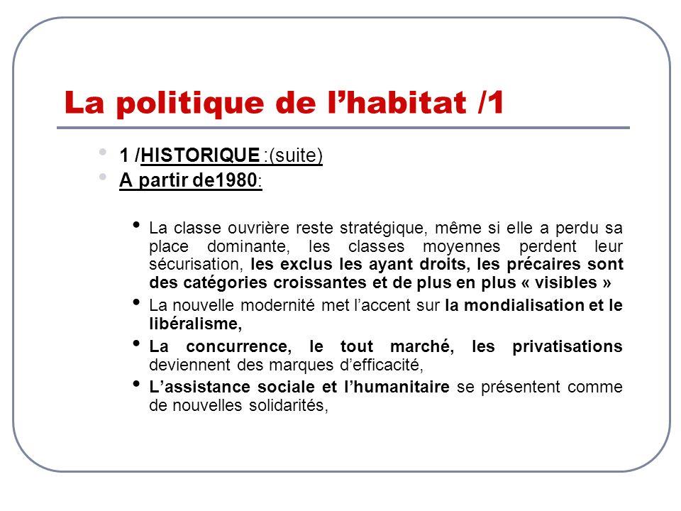 La politique de lhabitat /1 1 /HISTORIQUE :(suite) A partir de1980 : La classe ouvrière reste stratégique, même si elle a perdu sa place dominante, le
