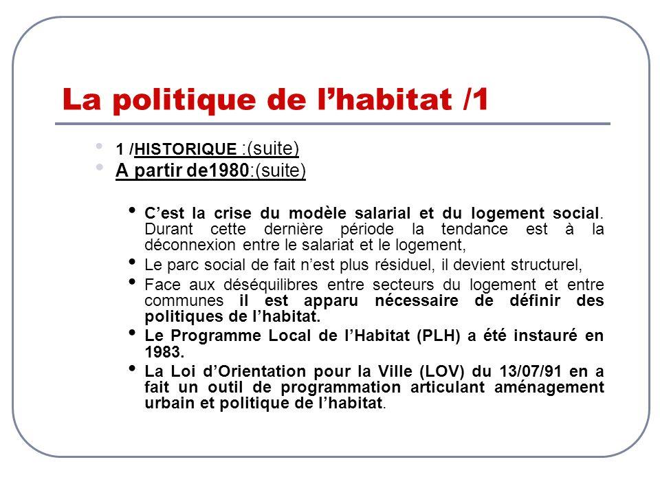 La politique de lhabitat /1 1 /HISTORIQUE :(suite) A partir de1980:(suite) Cest la crise du modèle salarial et du logement social. Durant cette derniè