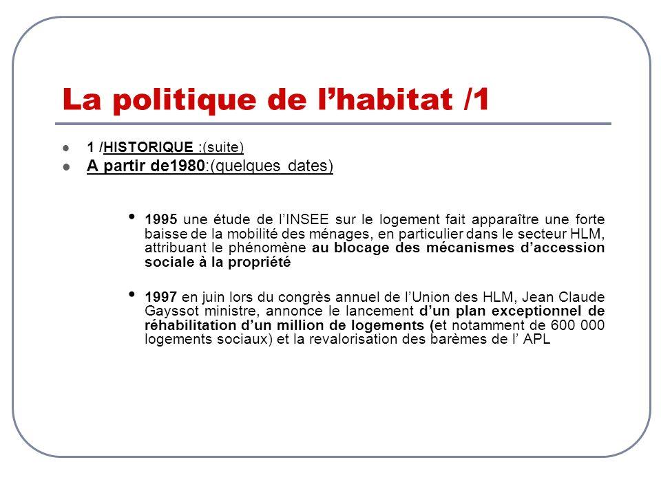La politique de lhabitat /1 1 /HISTORIQUE :(suite) A partir de1980:(quelques dates) 1995 une étude de lINSEE sur le logement fait apparaître une forte