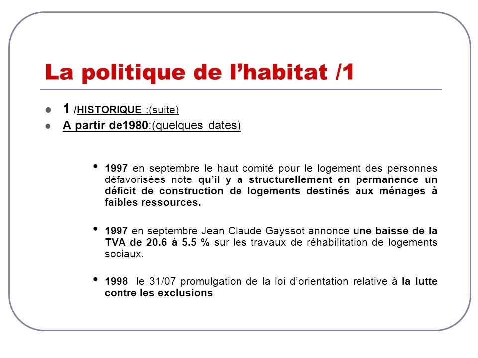 La politique de lhabitat /1 1 /HISTORIQUE :(suite) A partir de1980:(quelques dates) 1997 en septembre le haut comité pour le logement des personnes dé