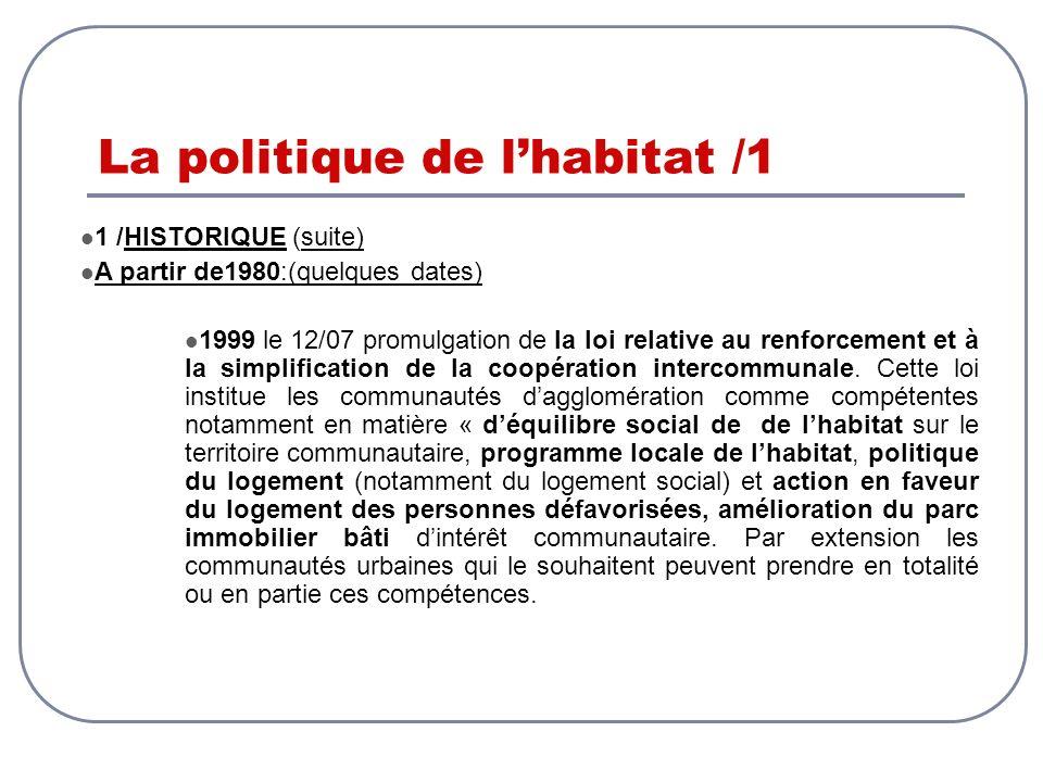 La politique de lhabitat /1 1 /HISTORIQUE (suite) A partir de1980:(quelques dates) 1999 le 12/07 promulgation de la loi relative au renforcement et à