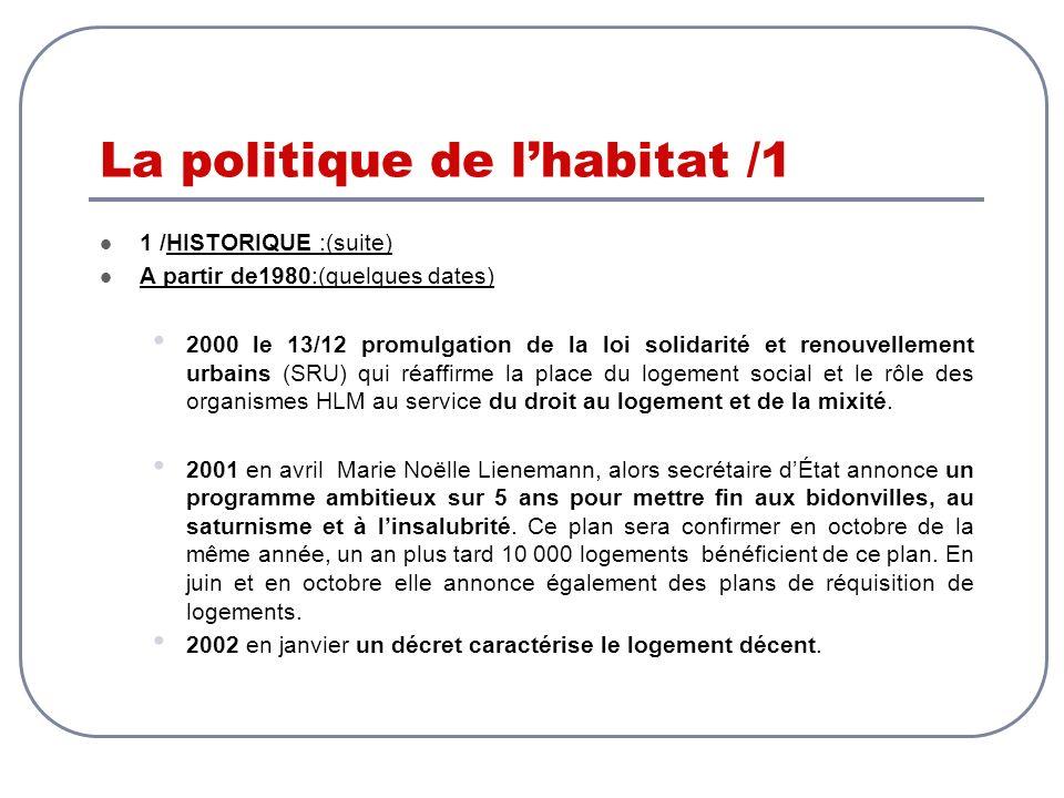 La politique de lhabitat /1 1 /HISTORIQUE :(suite) A partir de1980:(quelques dates) 2000 le 13/12 promulgation de la loi solidarité et renouvellement