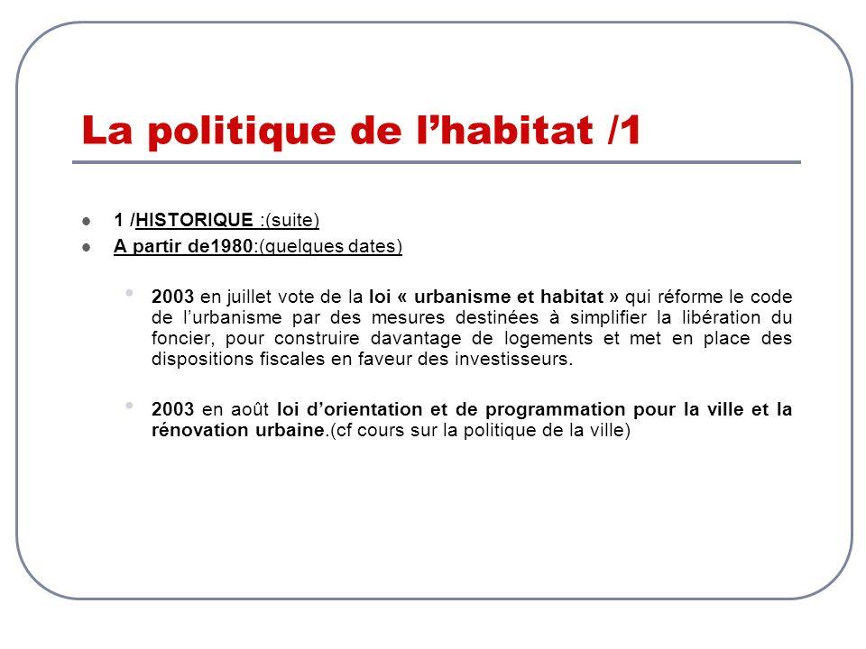 La politique de lhabitat /1 1 /HISTORIQUE :(suite) A partir de1980:(quelques dates) 2003 en juillet vote de la loi « urbanisme et habitat » qui réform
