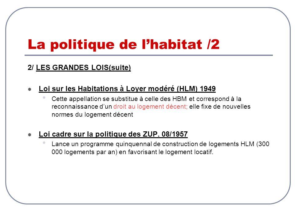 La politique de lhabitat /2 2/ LES GRANDES LOIS(suite) Loi sur les Habitations à Loyer modéré (HLM) 1949 Cette appellation se substitue à celle des HB