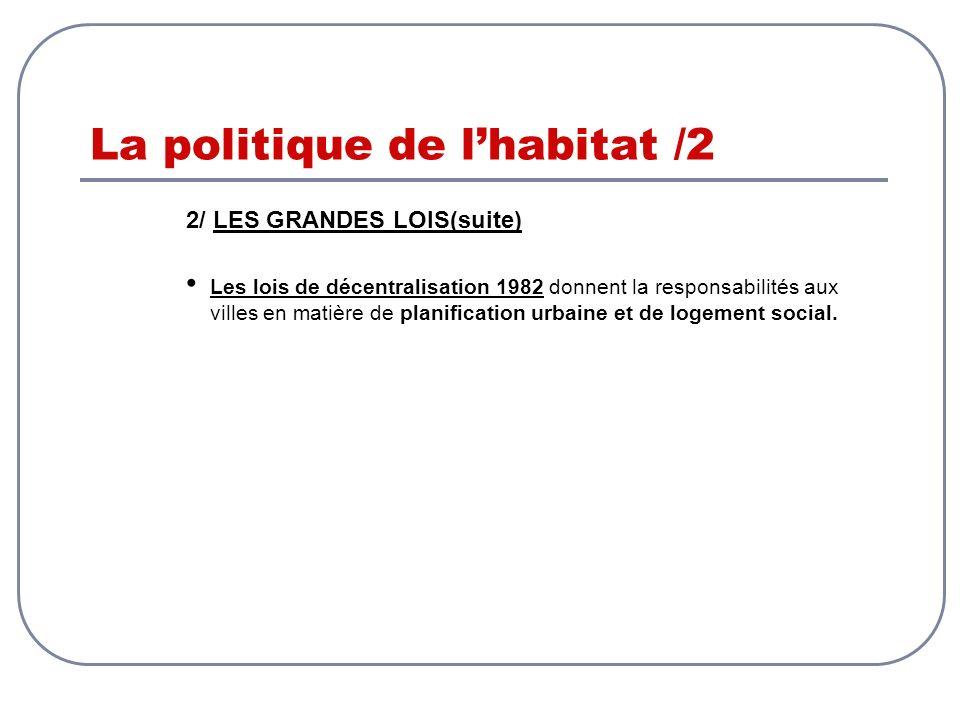 La politique de lhabitat /2 2/ LES GRANDES LOIS(suite) Les lois de décentralisation 1982 donnent la responsabilités aux villes en matière de planifica