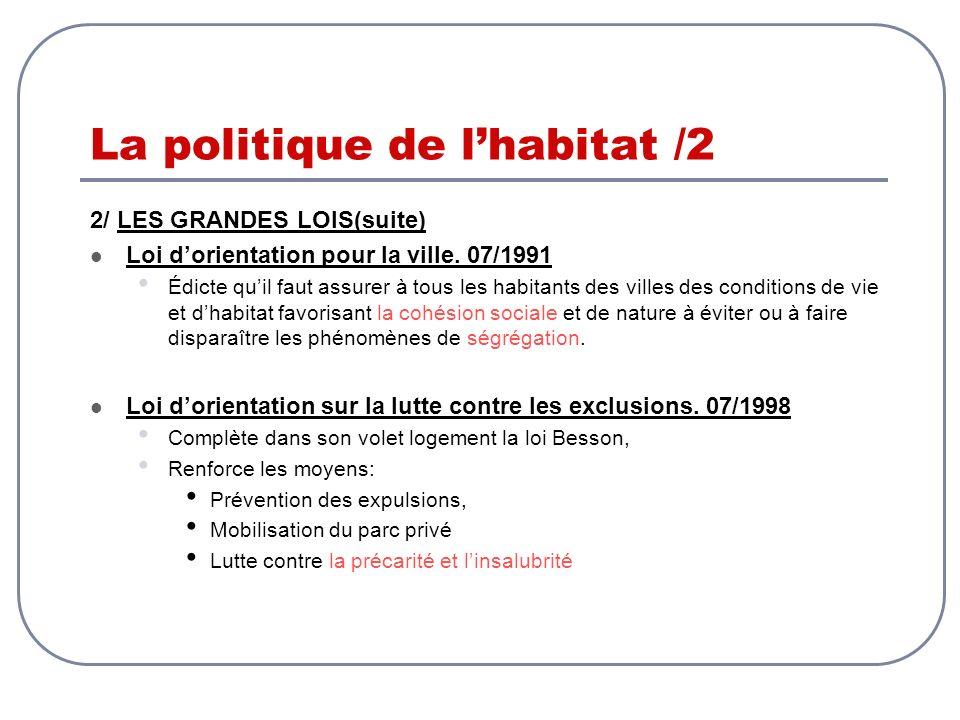 La politique de lhabitat /2 2/ LES GRANDES LOIS(suite) Loi dorientation pour la ville. 07/1991 Édicte quil faut assurer à tous les habitants des ville