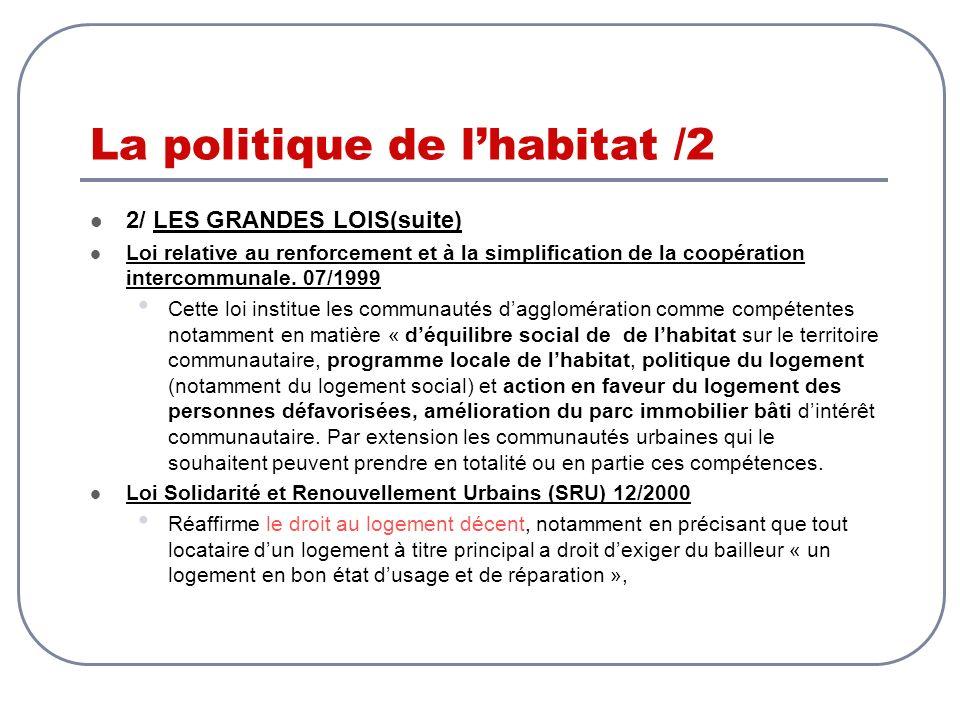 La politique de lhabitat /2 2/ LES GRANDES LOIS(suite) Loi relative au renforcement et à la simplification de la coopération intercommunale. 07/1999 C