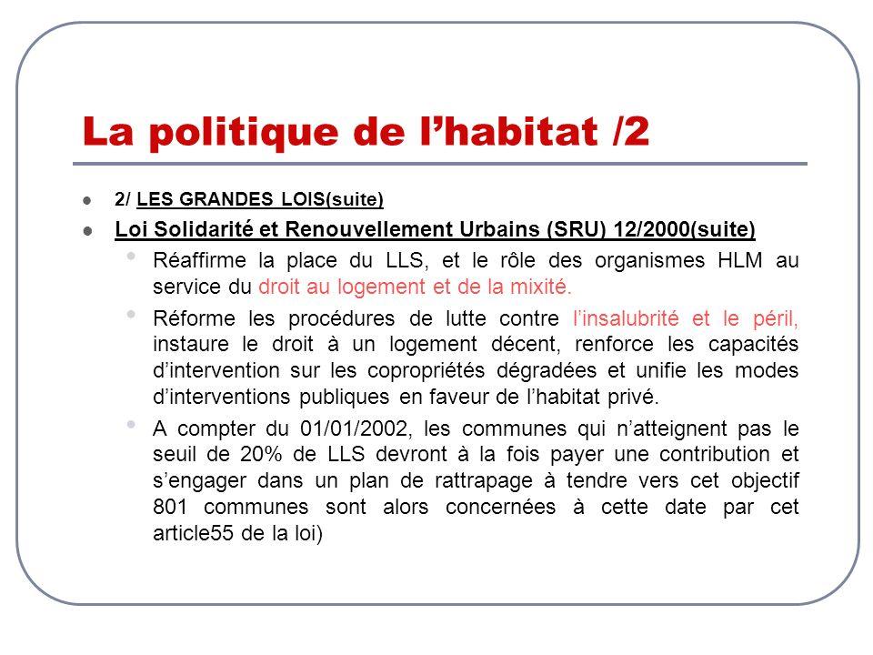 La politique de lhabitat /2 2/ LES GRANDES LOIS(suite) Loi Solidarité et Renouvellement Urbains (SRU) 12/2000(suite) Réaffirme la place du LLS, et le