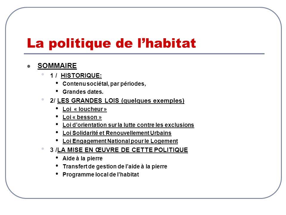 La politique de lhabitat SOMMAIRE 1 / HISTORIQUE: Contenu sociétal, par périodes, Grandes dates. 2/ LES GRANDES LOIS (quelques exemples) Loi « loucheu
