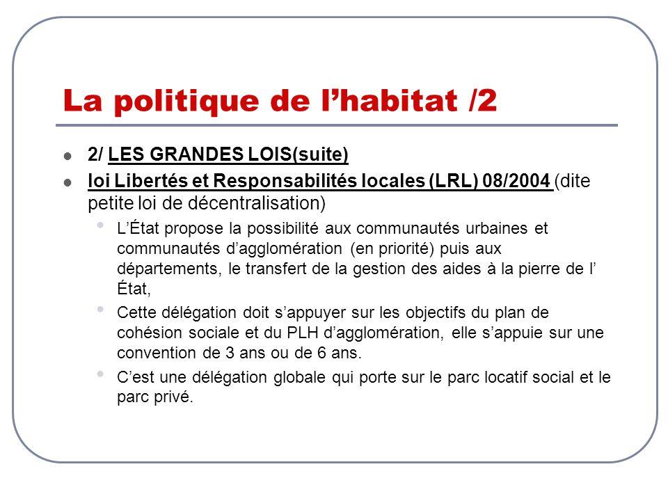 La politique de lhabitat /2 2/ LES GRANDES LOIS(suite) loi Libertés et Responsabilités locales (LRL) 08/2004 (dite petite loi de décentralisation) LÉt