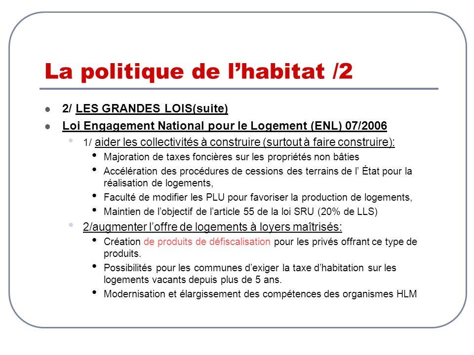 La politique de lhabitat /2 2/ LES GRANDES LOIS(suite) Loi Engagement National pour le Logement (ENL) 07/2006 1/ aider les collectivités à construire