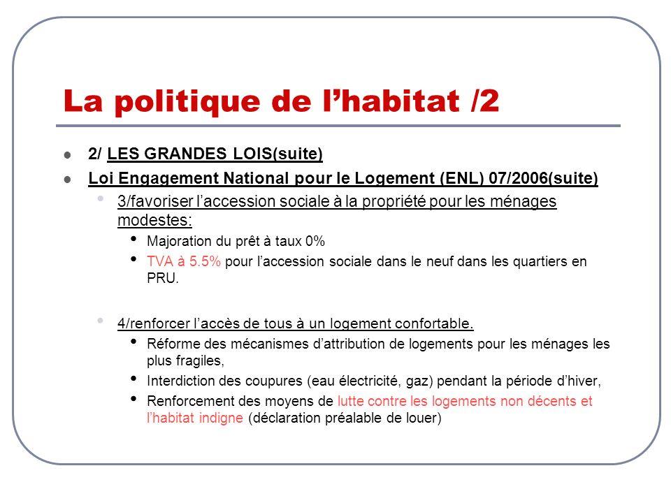 La politique de lhabitat /2 2/ LES GRANDES LOIS(suite) Loi Engagement National pour le Logement (ENL) 07/2006(suite) 3/favoriser laccession sociale à