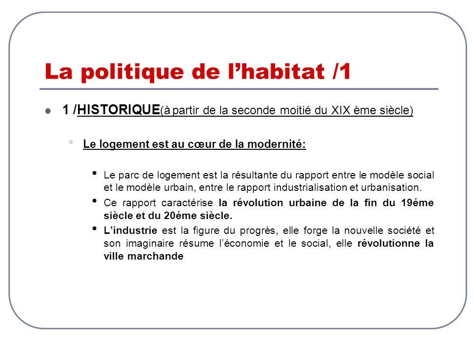 La politique de lhabitat /1 1 /HISTORIQUE (à partir de la seconde moitié du XIX ème siècle) Le logement est au cœur de la modernité: Le parc de logeme
