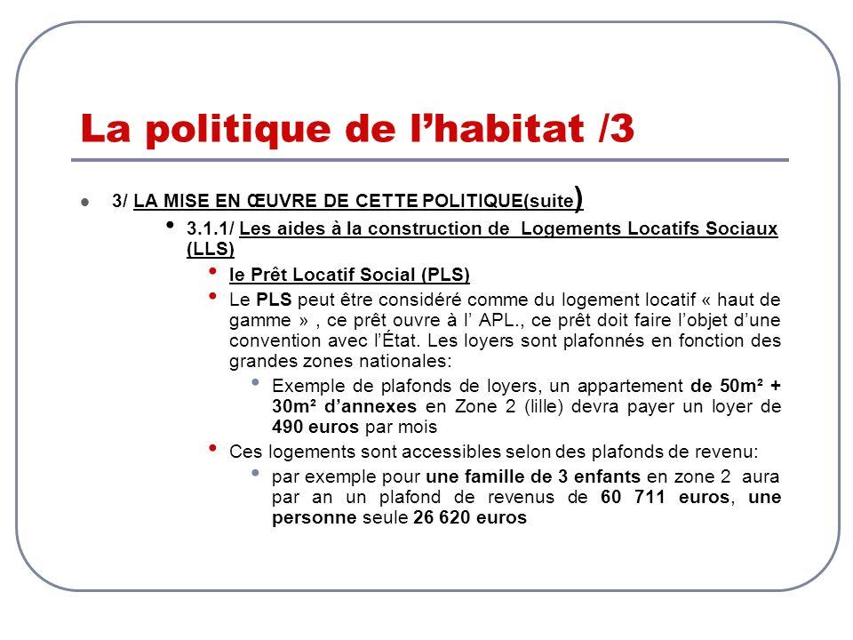 La politique de lhabitat /3 3/ LA MISE EN ŒUVRE DE CETTE POLITIQUE(suite ) 3.1.1/ Les aides à la construction de Logements Locatifs Sociaux (LLS) le P