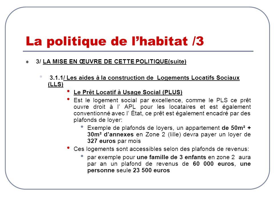 La politique de lhabitat /3 3/ LA MISE EN ŒUVRE DE CETTE POLITIQUE(suite) 3.1.1/ Les aides à la construction de Logements Locatifs Sociaux (LLS) Le Pr