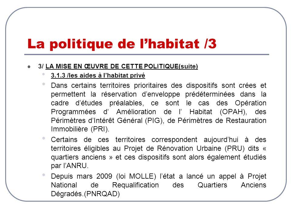 La politique de lhabitat /3 3/ LA MISE EN ŒUVRE DE CETTE POLITIQUE(suite) 3.1.3 /les aides à lhabitat privé Dans certains territoires prioritaires des