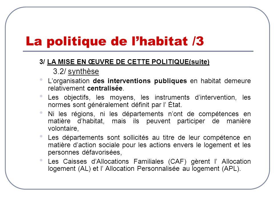 La politique de lhabitat /3 3/ LA MISE EN ŒUVRE DE CETTE POLITIQUE(suite) 3.2/ synthèse Lorganisation des interventions publiques en habitat demeure r